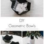 """Collage of modern geometric bowl photos with text overlay reading, """"DIY Geometric Bowls"""""""