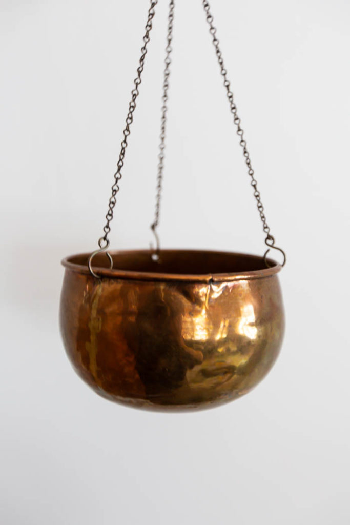 copper hanging pot from the thrift store