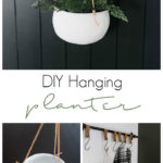 """collage of white hanging planter photos with text overlay reading """"DIY hanging planter"""""""