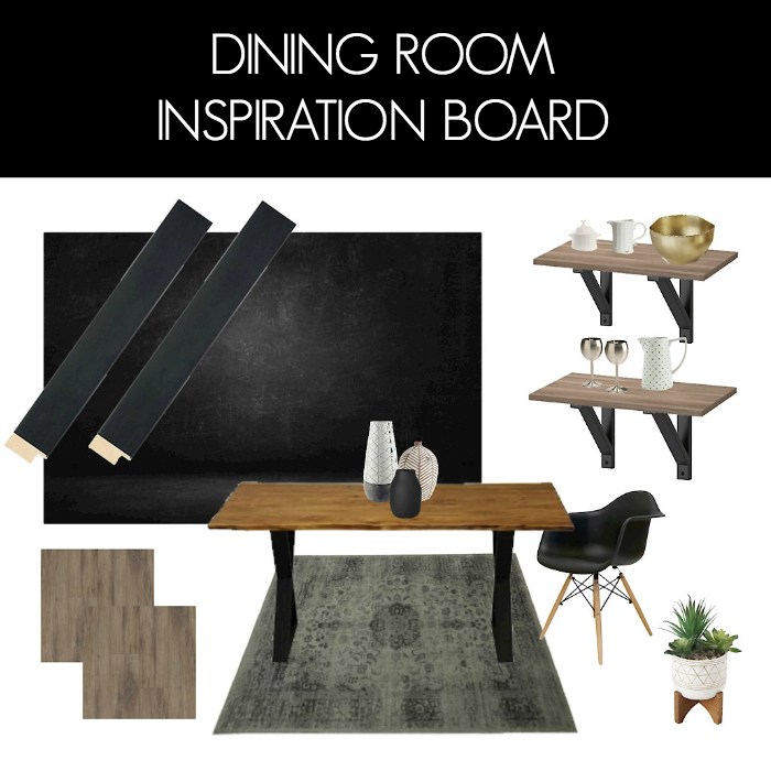 "collage of dining room furniture and design with text overlay reading ""dining room inspiration board"""