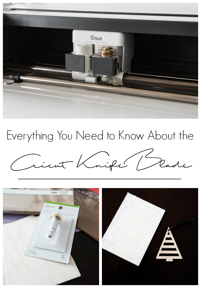 "photos of the cricut knife blade and balsa wood projects with text overlay reading ""everything you need to know about the Cricut knife blade"""