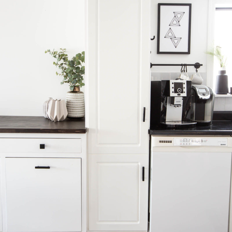 modern kitchen with hidden garbage, recycling, and water cooler