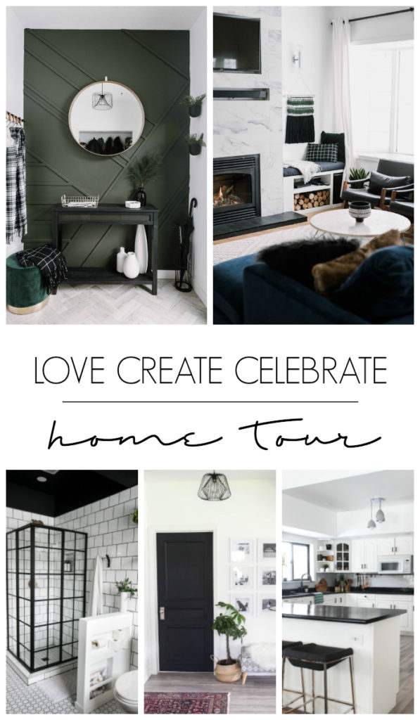 "Collage of five beautifully renovated spaces with text overlay reading, ""Love Create Celebrate Home Tour"""