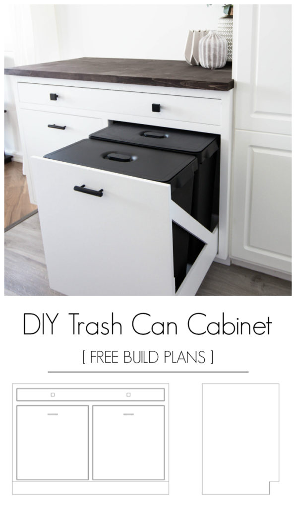 "photos of a cabinet with pull out trash can storage with text overlay reading ""DIY trash can cabinet free build plans"""