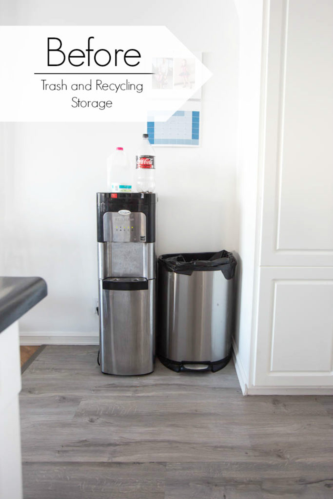 "water cooler, trash can, and recycling in the kitchen with text overlay reading ""before trash and recycling storage"""