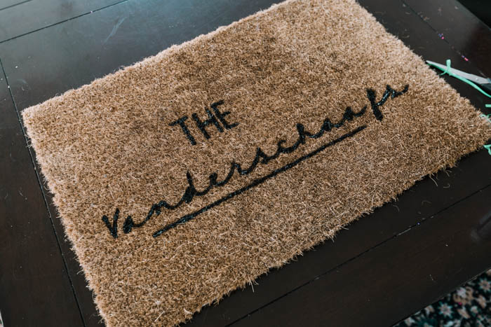 Custom last name on a doormat