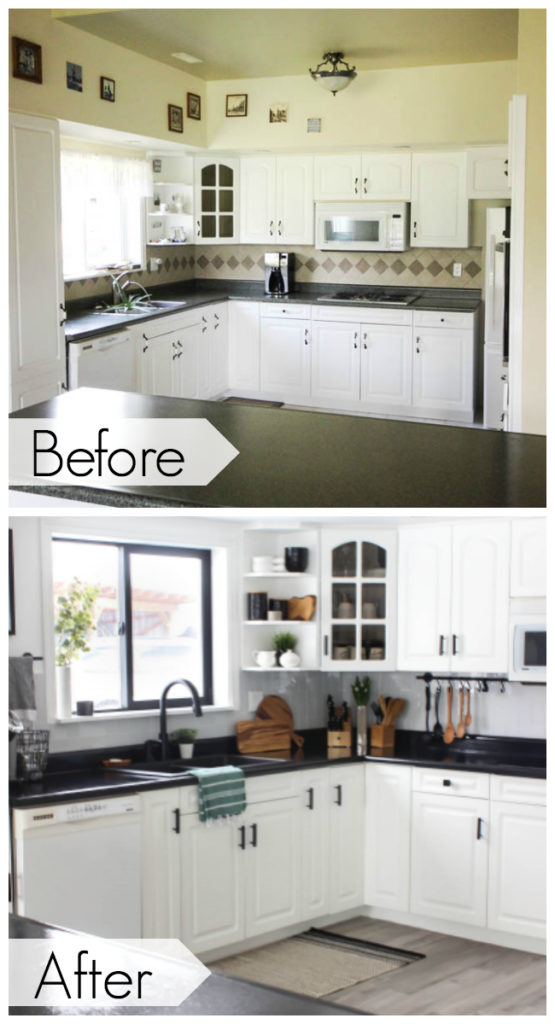 before and after kitchen photos after countertop transformation paint