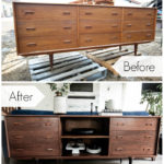"before and after photos of a beautiful sideboard makeover with text overlay reading, ""before"" and ""after"""