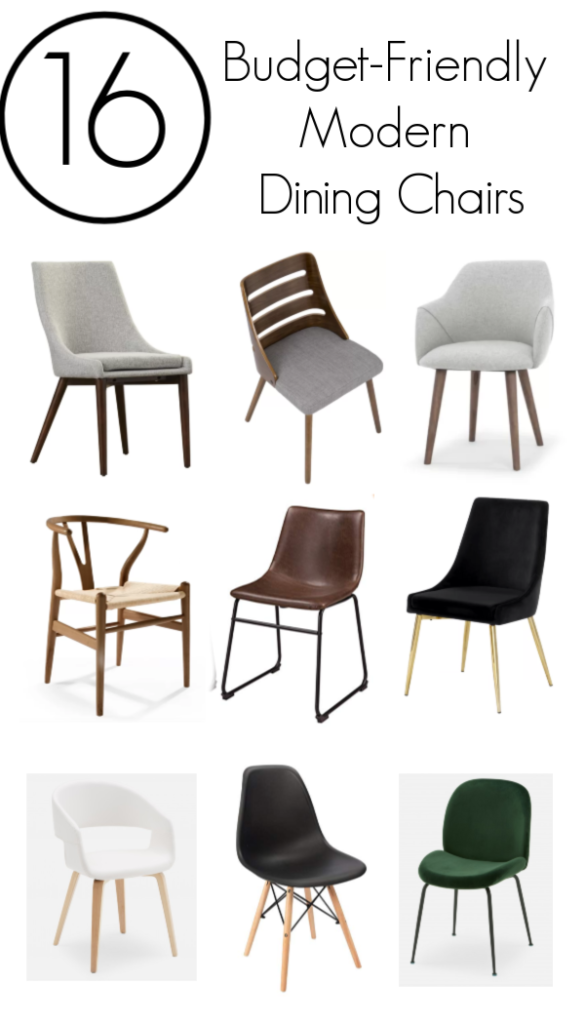 "Collage of dining chair photos with text overlay reading ""16 Budget-Friendly Modern Dining Chairs"""