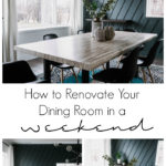 "A collage of dining room photos with text overlay reading ""How to renovate your dining room in a weekend"""