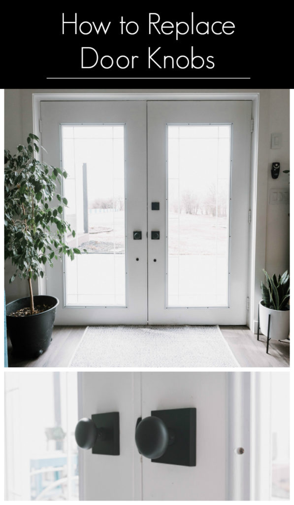 "collage of photos showing matte black knobs with text overlay reading ""How to install door knobs"""