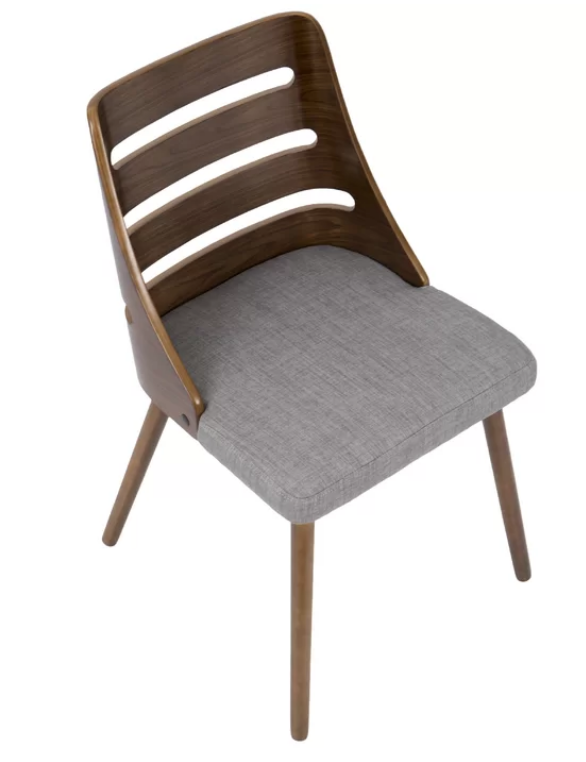 walnut and grey mid-century modern dining chairs