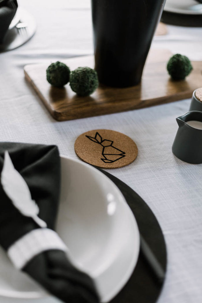 Easter tablescape with bunny coasters
