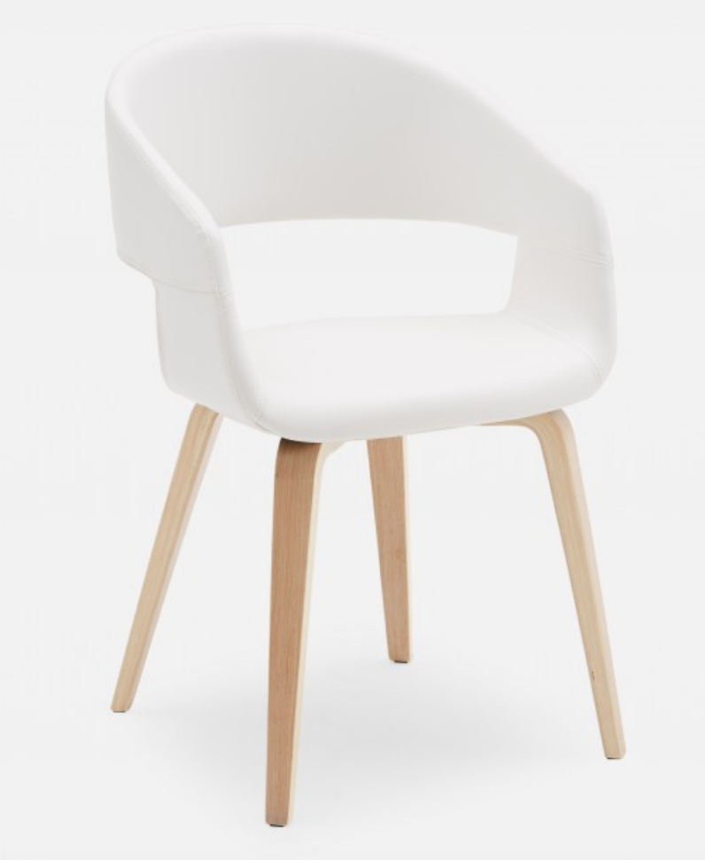 White fabric dining chair