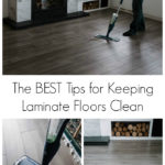 "Collage of laminate flooring and spray floor mops with text overlay reading ""the best tips for keeping laminate floors clean"""