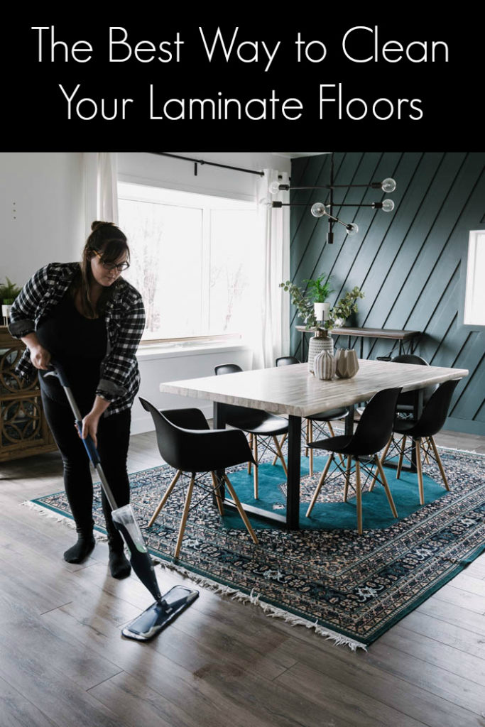 "Woman cleaning floors with text overlay reading ""the best way to clean your laminate floors"""
