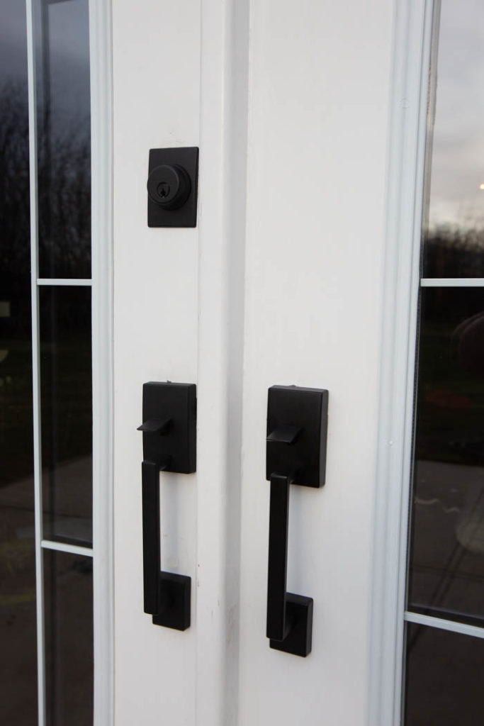 matte black exterior door handles from Schlage