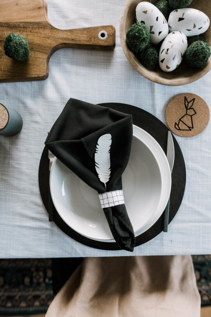 black and white table setting for Easter