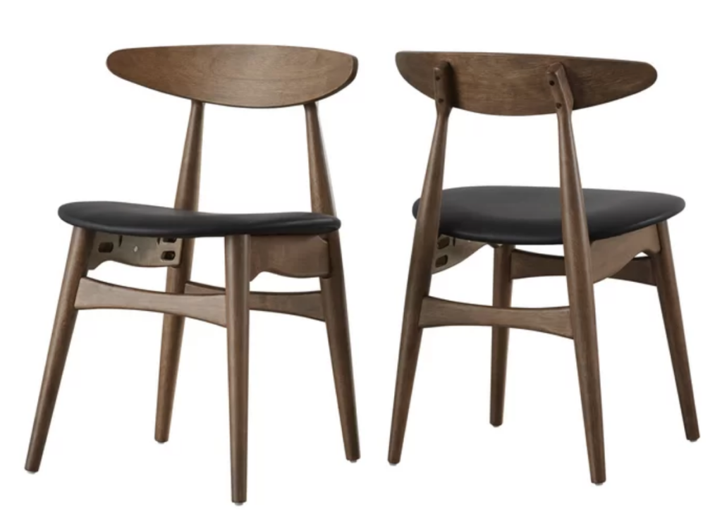 black and walnut dining chairs