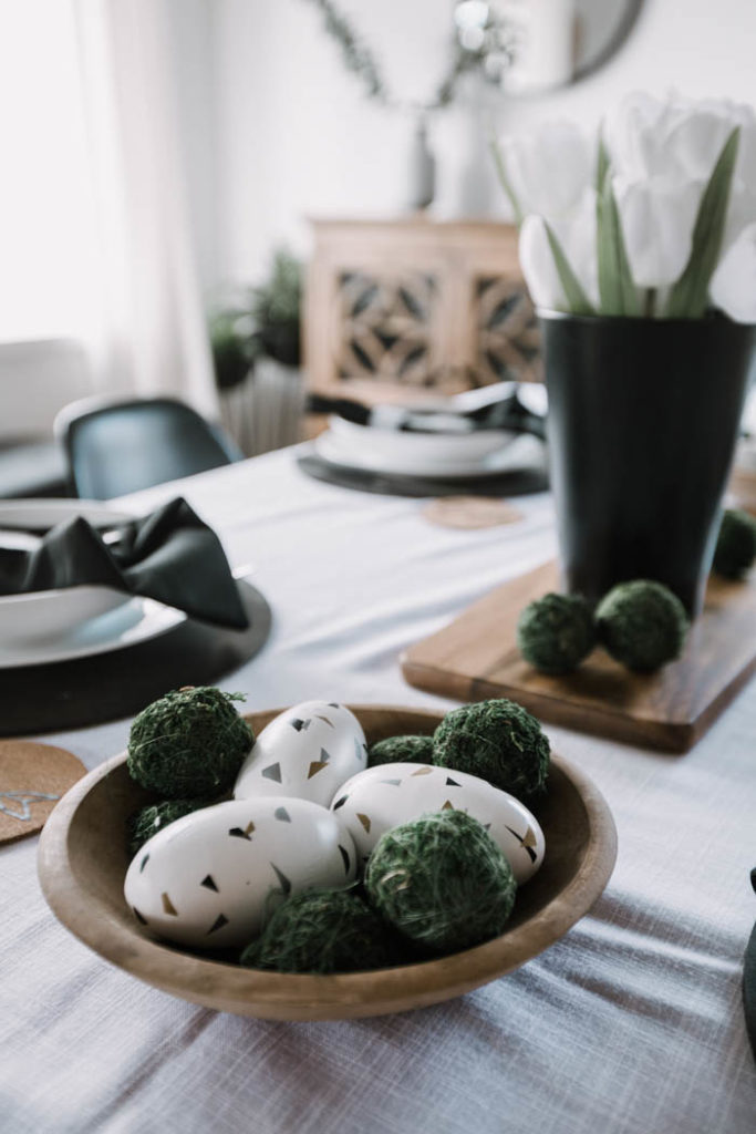 Modern Easter eggs in a tablescape