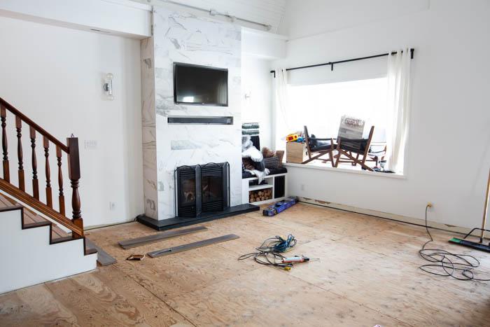 living room before laminate flooring installation