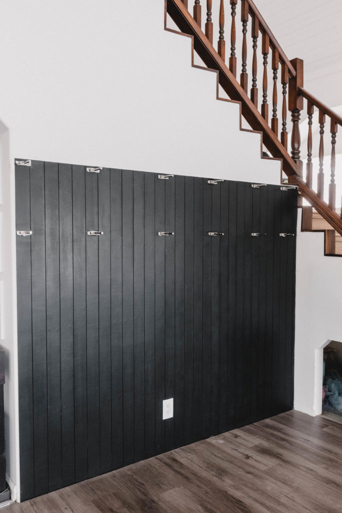 DIY black vertical shiplap wall