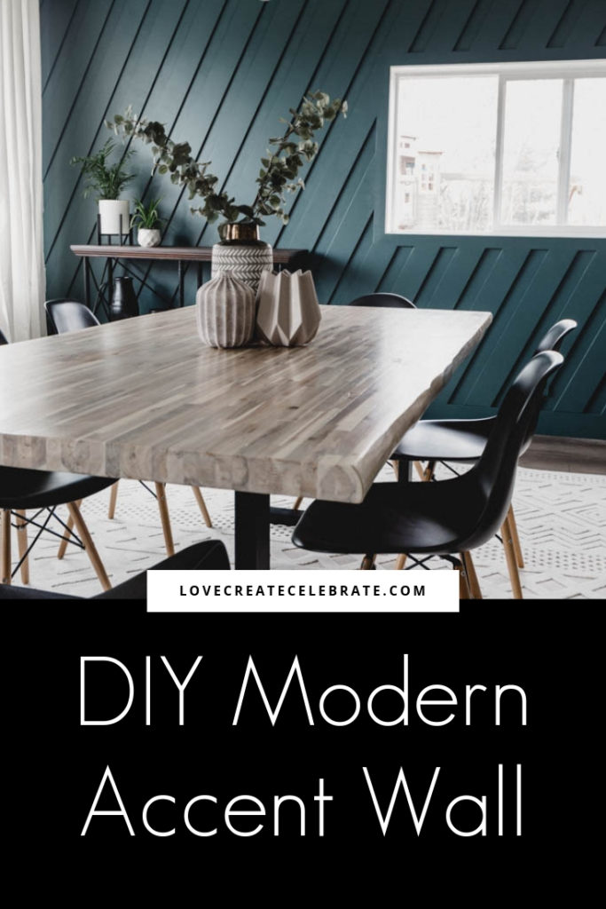 "Beautiful modern dining room photo with text overlay reading ""DIY Modern Accent Wall"""