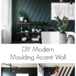 "Collage of accent wall DIY photos with text overlay reading ""DIY Modern Moulding Accent Wall"""
