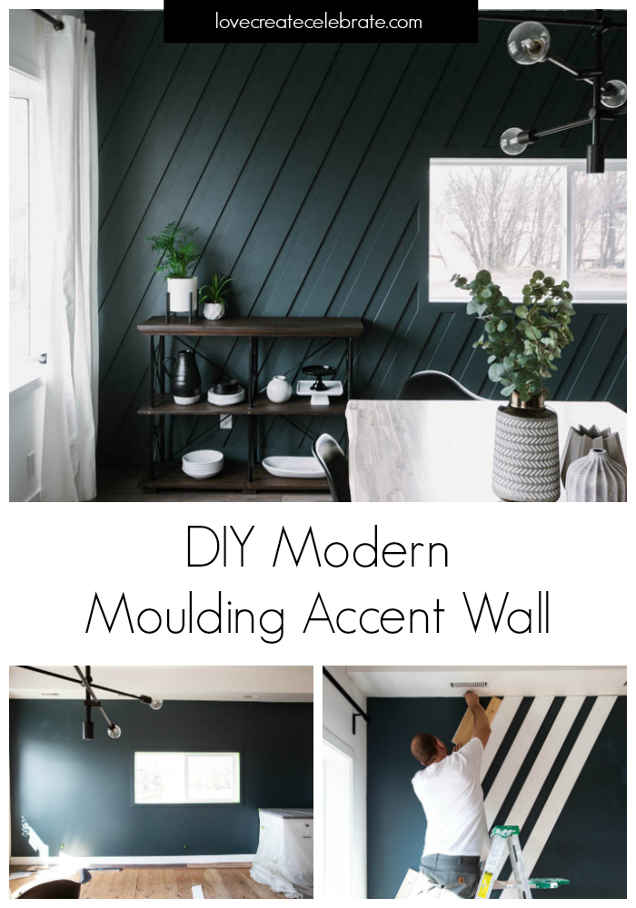 """Collage of accent wall DIY photos with text overlay reading """"DIY Modern Moulding Accent Wall"""""""