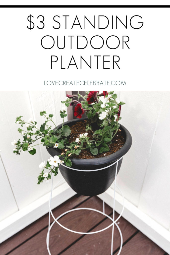 "Dollar store patio planter with text overlay reading ""$3 standing outdoor planter"""