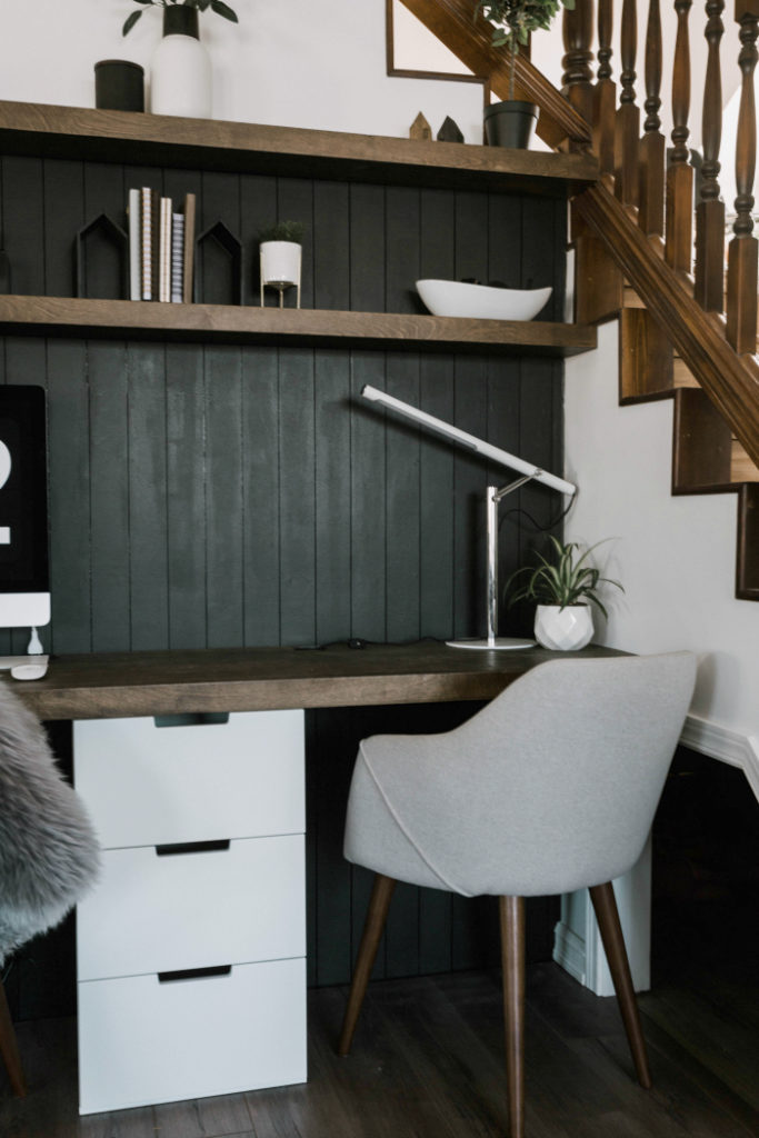 Modern desk with shiplap feature wall