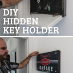 "collage of hidden key holder photos with text overlay reading ""DIY Hidden Key Holder"""