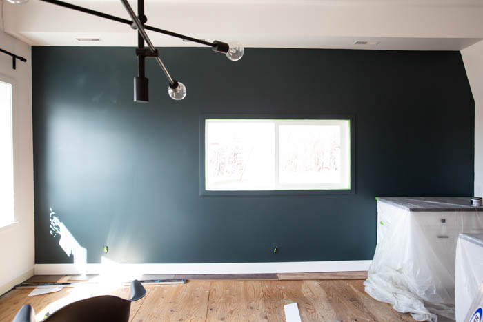 Dark green wall during renovations