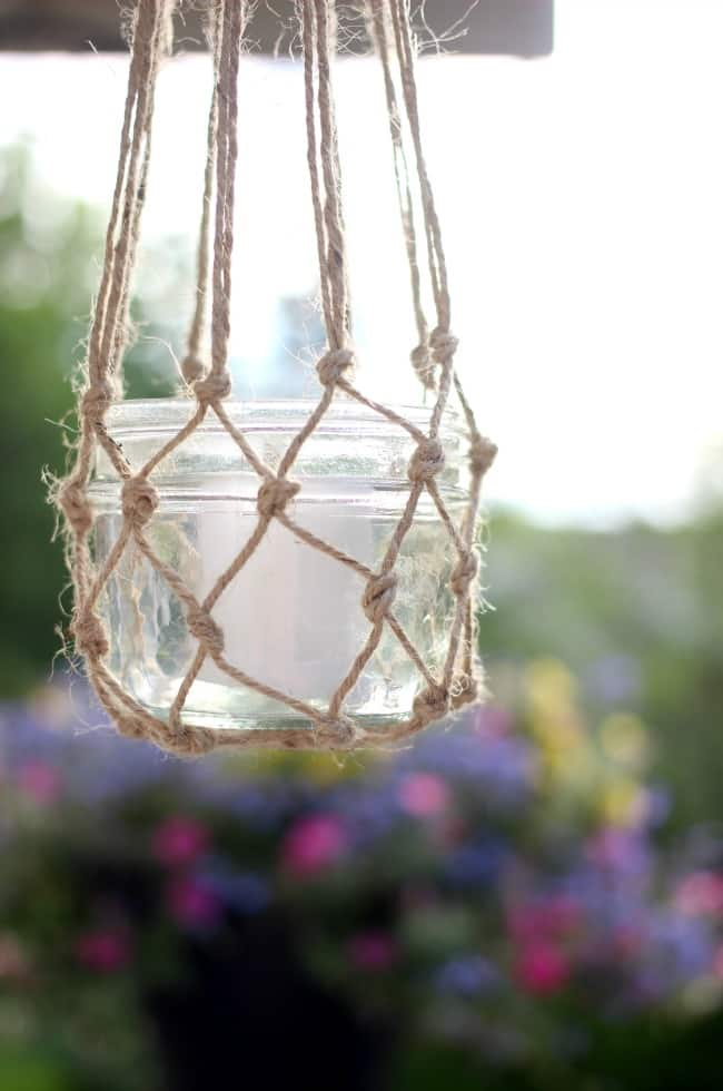 hanging jute string lanterns for the deck or patio