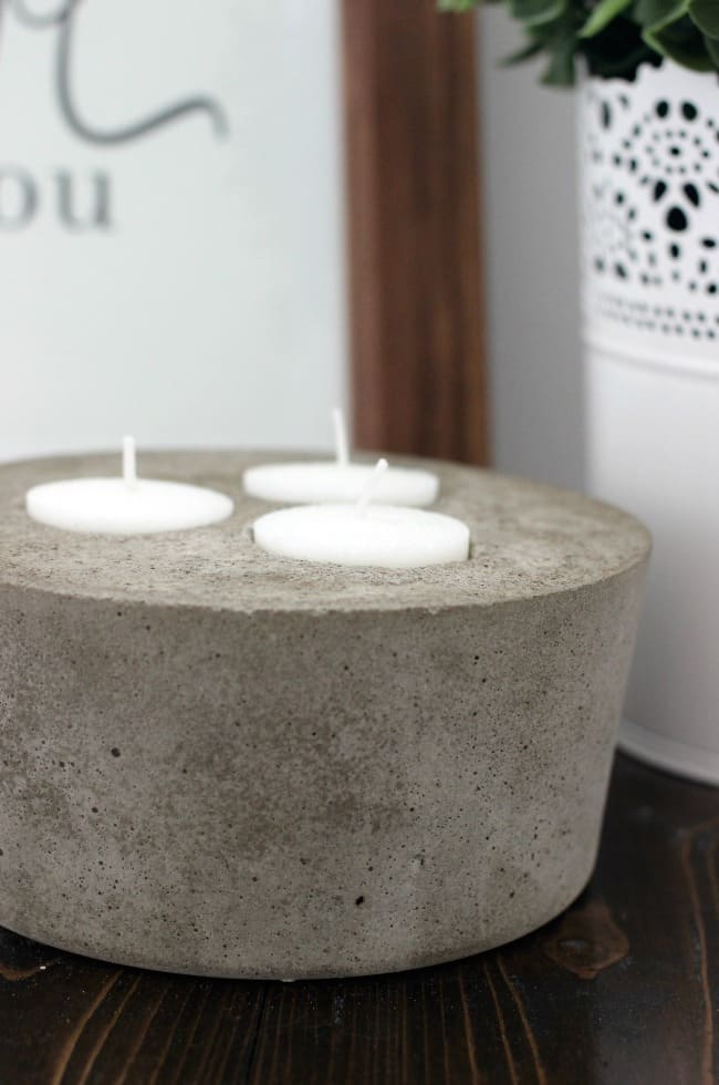DIY concrete candle for the patio or deck