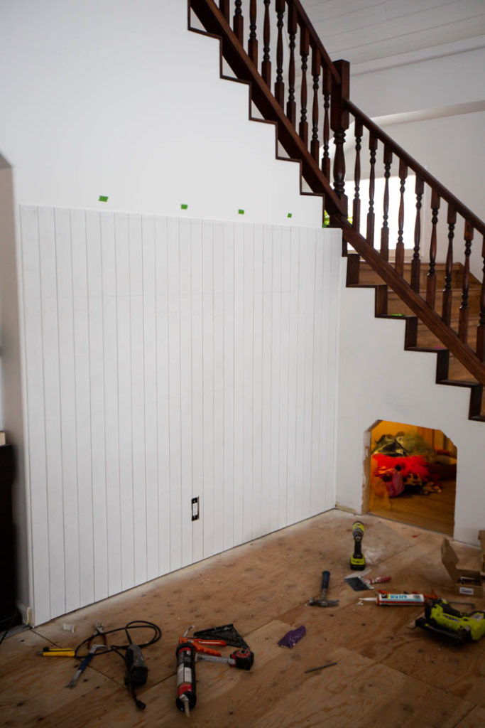 DIY white vertical shiplap