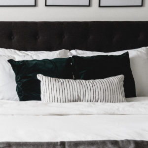 white lumbar bedroom pillow
