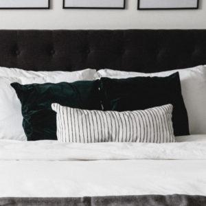 white lumbar bedroom pillow