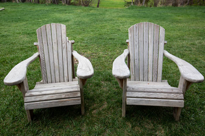 adirondack chairs before a makeover