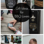 "collage of gift ideas for men with text overlay reading ""Gift ideas for BBQ Lovers"""
