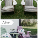 Before and after photos of adirondack chair makeover