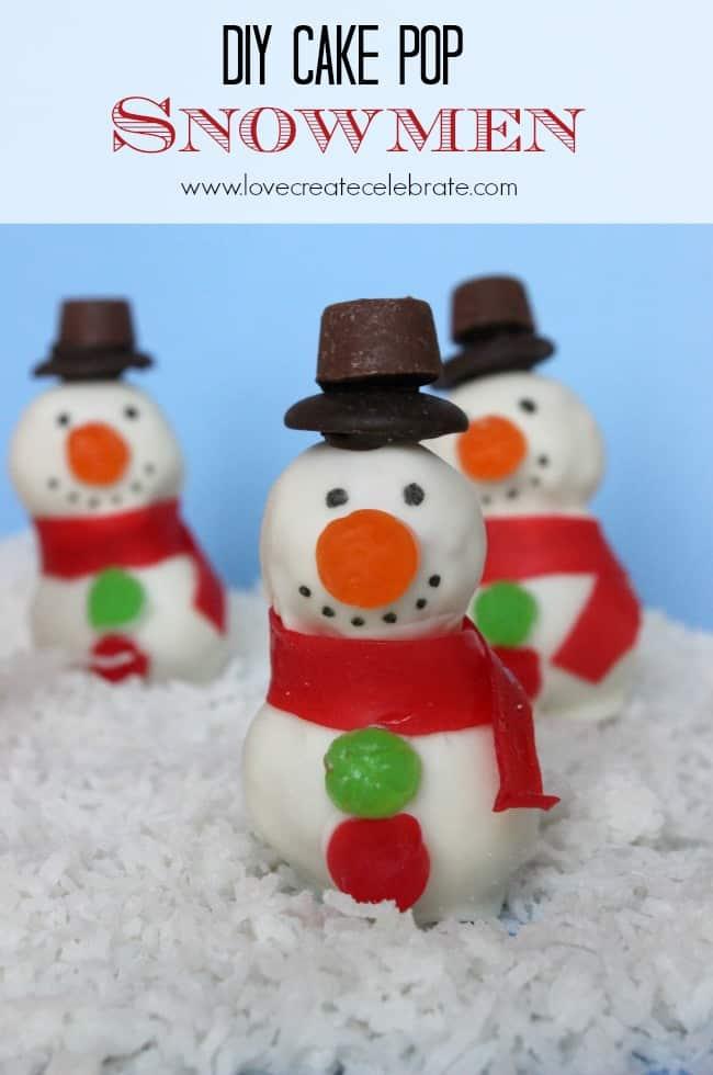 Snowman Cake Pops (easy DIY) | Love Create Celebrate