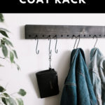 "Wall Hooks with text overlay reading, ""Modern DIY Coat Rack"""