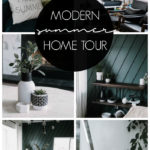 "Collage of modern summer photos with text overlay reading ""modern summer home tour"""
