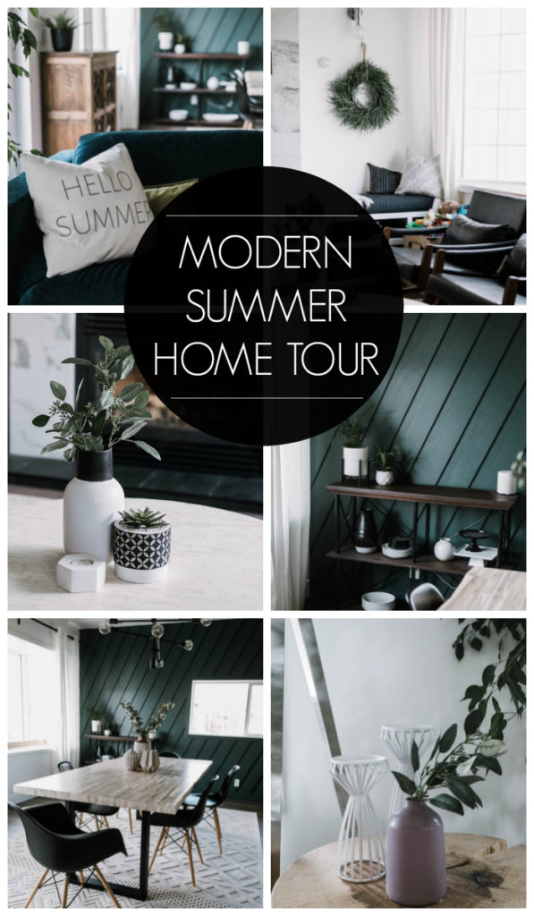 "Collage of modern summer home pictures with text overlay reading ""modern summer home tour"""