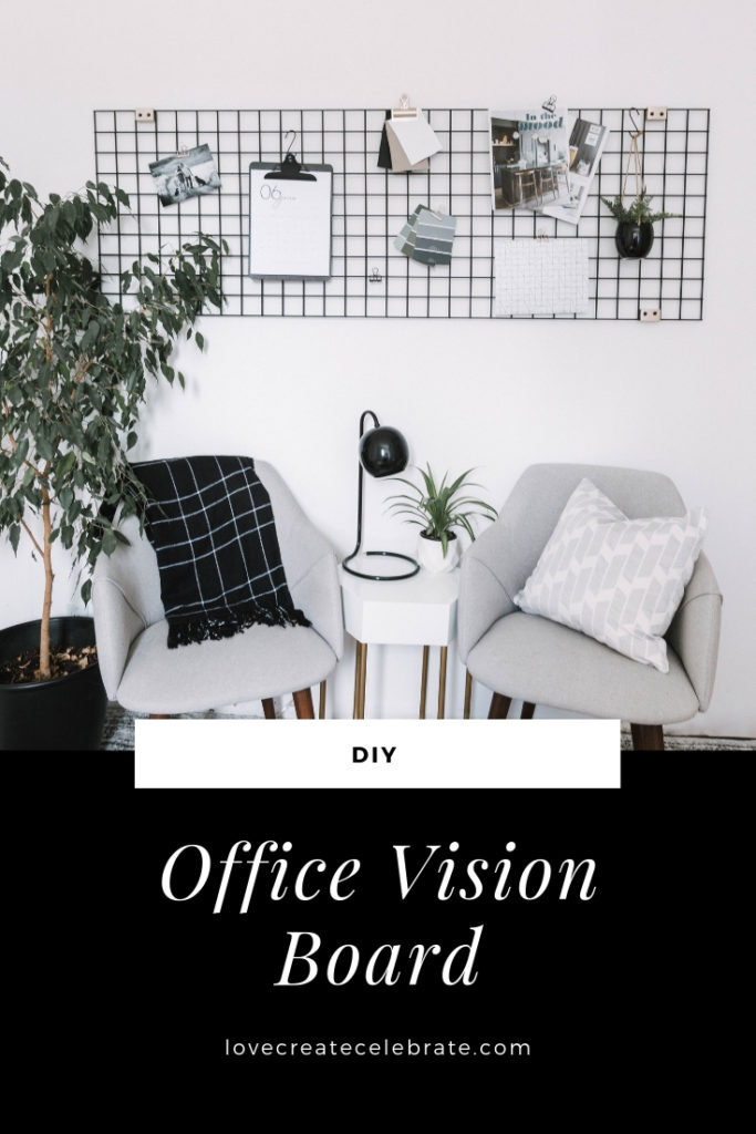 "metal wall grid with text overlay reading ""office vision board"""