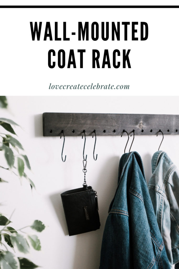 "coat rack with text overlay reading ""wall-mounted coat rack"""