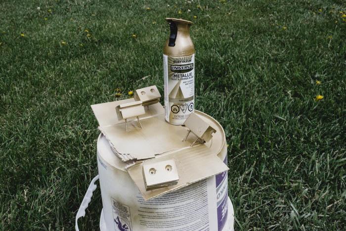 gold spray painted brackets