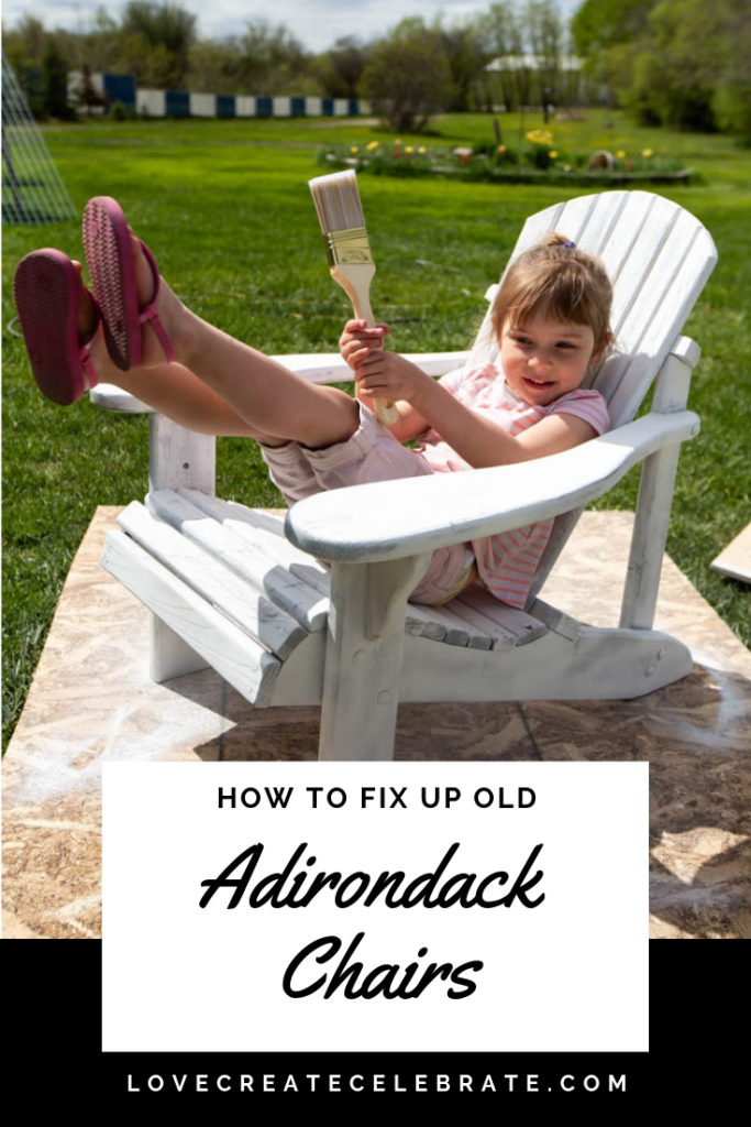 "A girl in a adirondack chair with text overlay reading ""How to fix up an adirondack chair"""