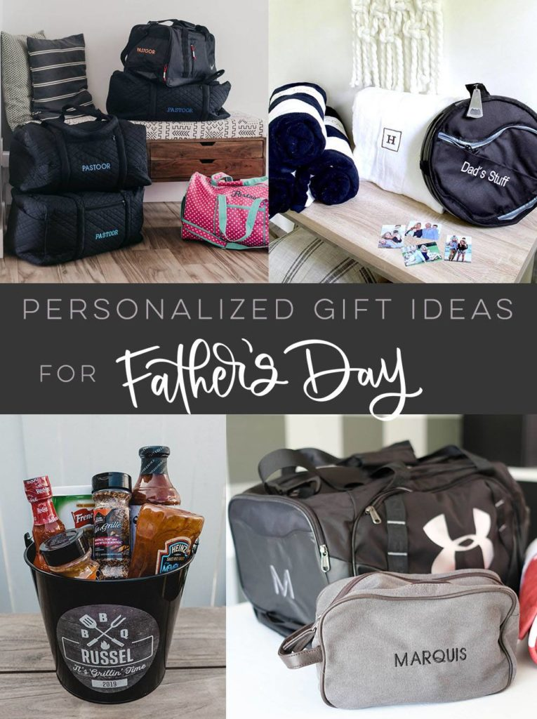"collage of personalized father's day gift ideas with text overlay reading, ""personalized gift ideas for Father's Day"""